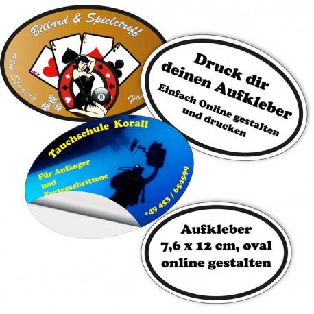 Aufkleber / Sticker oval,7,6 x 12 cm, zum Selbstgestalten