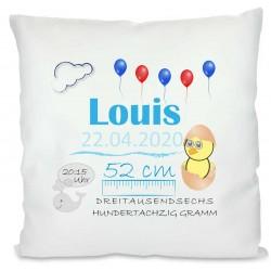 Personalisiertes Kissen zur Geburt für Jungen